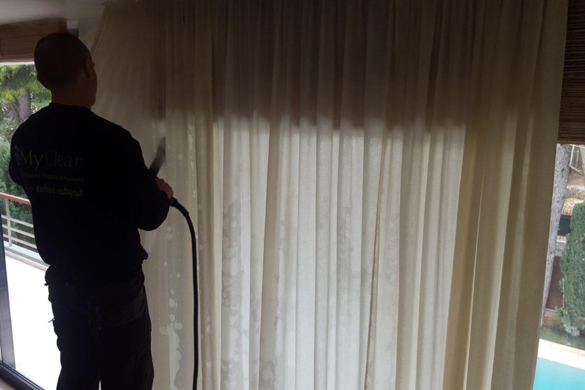 Καθαρισμός κουρτινών με ατμοκαθαριστή